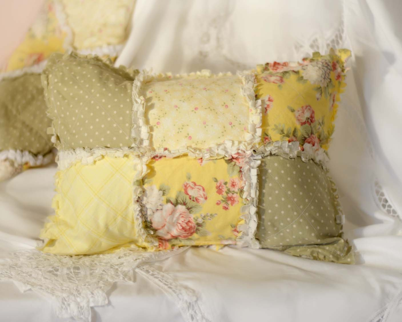 Shabby Chic Pillow Shams : Shabby Chic Pillow Shams Made to Order Floral Yellow Pink