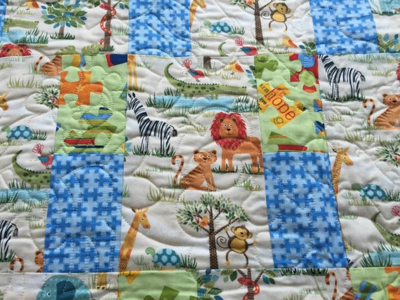 Fun jungle animals kids quilt cotton fabric by for Childrens jungle fabric