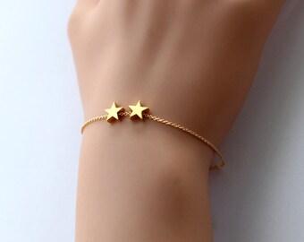 star bracelet, mini 14k gold plated star bracelet, tiny gold star bracelet jewelry