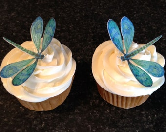 Edible Dragonfly, Cupcake Toppers, Dragonflies, 100, Cake Toppers, Edible, Wafer Paper, Sparkle Dusted