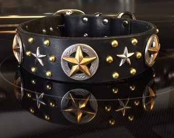THE TANK handmade leather dog collar w/ silver & gold Texas lone star conchos, silver stars and gold studs, by Picasso Collars