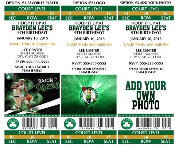 Printable Birthday Party Invitation Card Boston Celtics