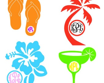 Flip Flop, Flower, Margarita, Palm Tree Monogram Decal