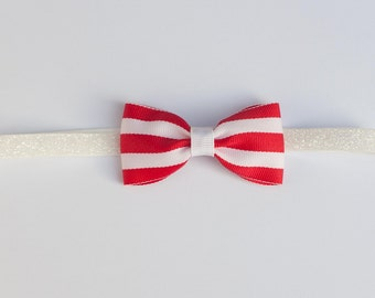 Classic Red Stripe Bow Headband / Red Stripe Headband / Red & White Stripe Baby Headband / Hair Clip Choose Your Elastic / Baby Bow Headband