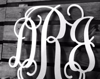 Wooden Monogram | 3 Letter | Sweetheart Table | Wedding Guest Book | Wall Hanging | Nursery Wall Decor | Cursive Letters | Wall Art |