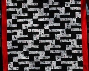 Black, white and red Asian print flannel quilt