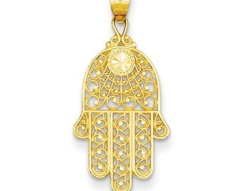 Solid 14k yellow gold Hamsa hand pendant