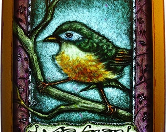 COMMISSIONNED Stained Glass panel-Bird