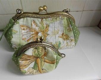 Set of 2 Green Fairy Clutches Women Handbag Kisslock Purse