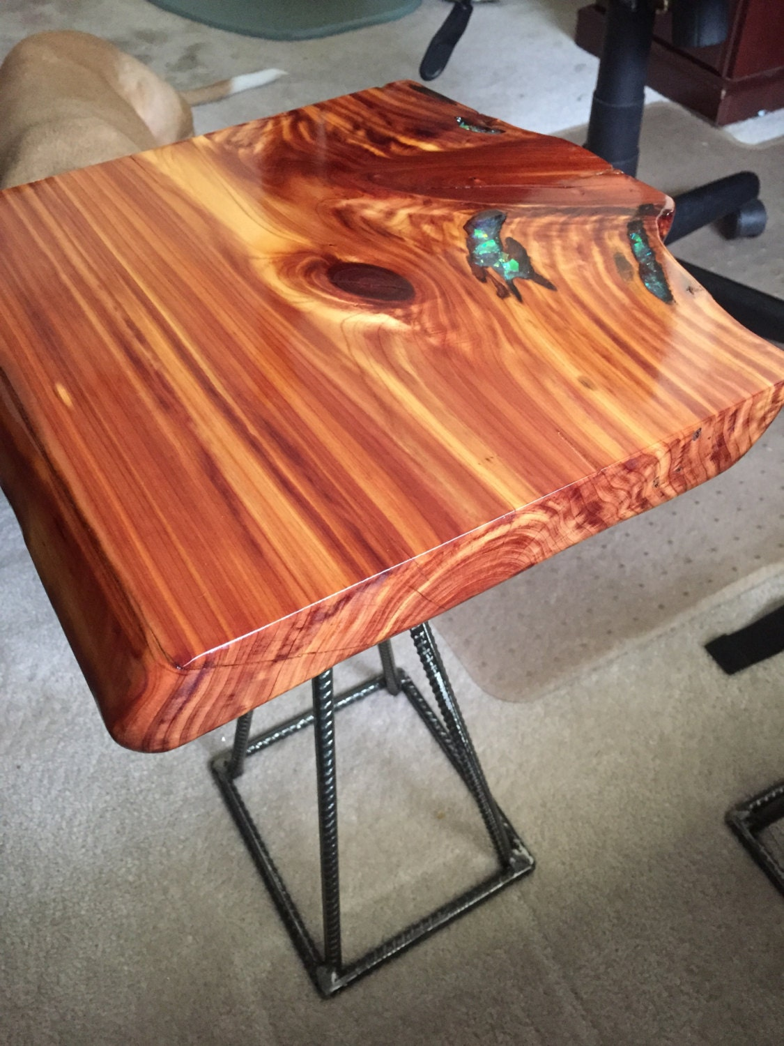 Cedar Wood Live Edge End Table With Epoxy Inlay Reclaimed