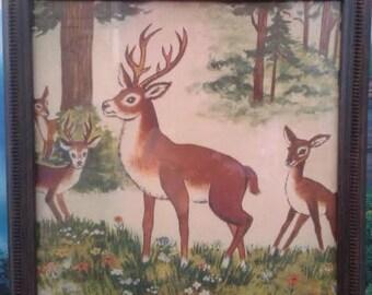 Vintage Deer Illustration - framed