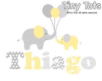 Wall Decals Nursery Stickers-Elephant name wall decal- nursery wall decals