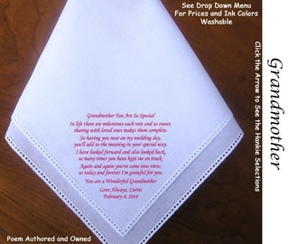 Grandmother of Bride or Groom Gift Hankie & Poem 1504  Sign and Date for Free!                     5 Wedding Hankie Styles and 8 Ink Colors.
