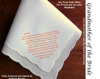Grandma of Bride Gift Wedding Hankie & Poem 1507  Sign / Date for Free    5 Wedding Hankie Styles and 8 Ink Colors.