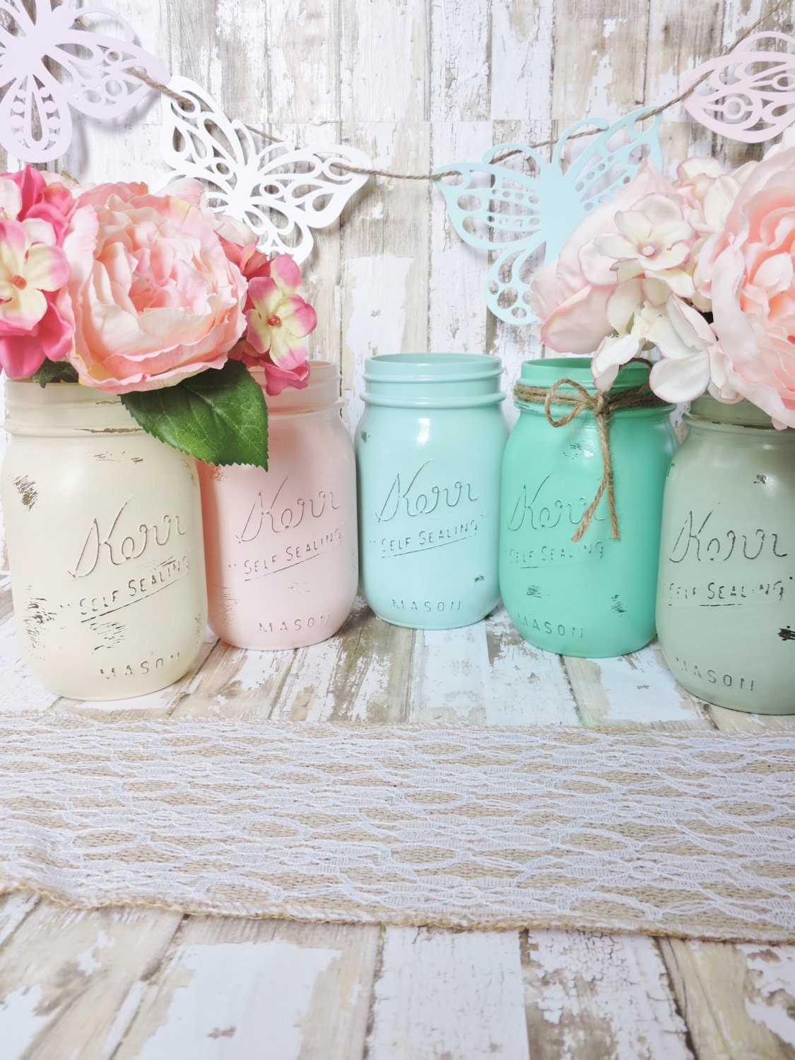 mason jar set shabby chic decor rustic wedding decor pastel. Black Bedroom Furniture Sets. Home Design Ideas