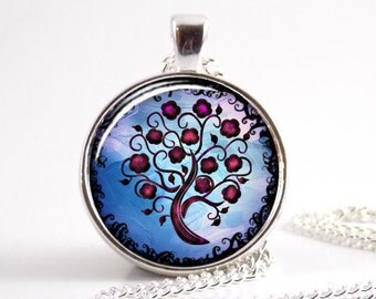 Tree of Life Art necklace, Glass tile blue Tree pendant jewelry