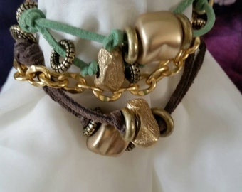 Gold and Suede Bracelet