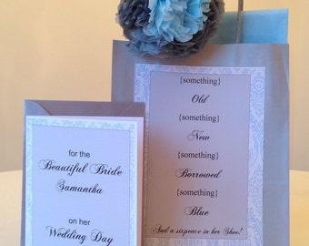 Brides Wedding Gift Bag & Matching Card 'something borrowed something blue'