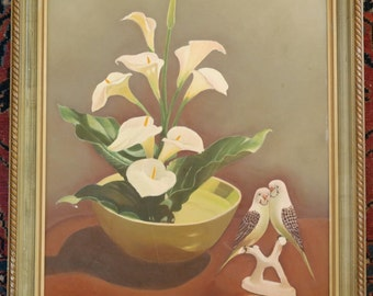 Vintage Mid Century Original signed and framed oil on board Calla LIllies in planter with two birds Budgies