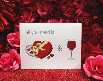 "Valentine's Day Card ""Chocolates and Wine"""