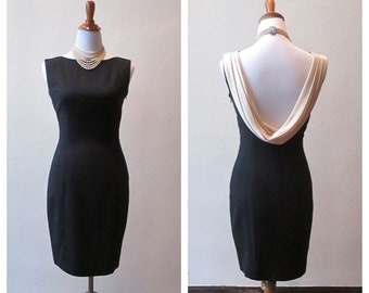 1990's Little Black Dress with Cream Cowl Back, Size 2