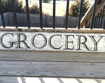 Rustic Grocery Sign, Primitive Wood Sign, Country Kitchen Decor, Farmhouse Decor, Farmhouse Sign, Wood Farm Sign, Farm Decor