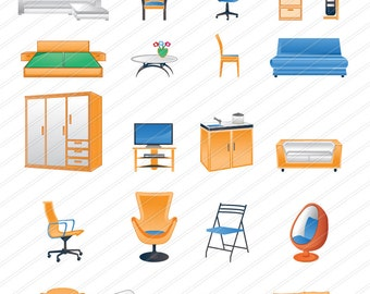 Furniture clipart ,Clipart  Furniture, Instant Download,  Furniture Digital Clipart Vector