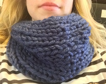 Blue chunky knit cowl