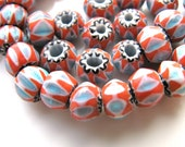 Glass beads, 25 beads, red, white and blue, 5 by 8mm  # 189