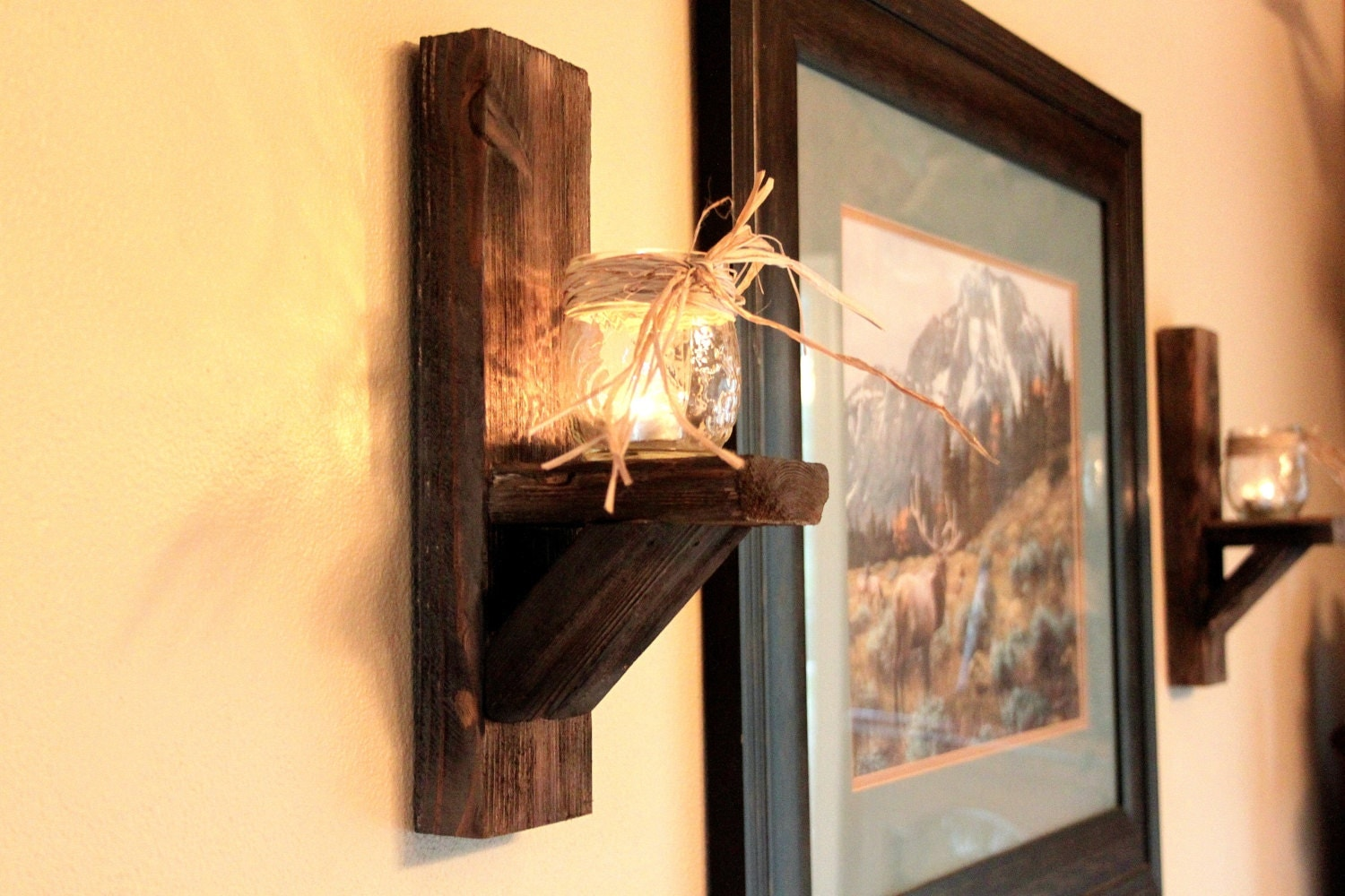 Rustic Wall Sconces For Candles : Hand Crafted Rustic Candle Holder/Wall Sconce