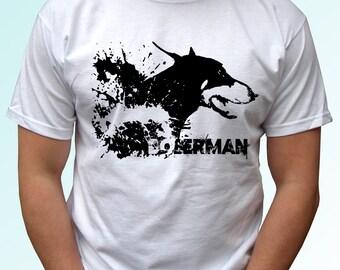 Doberman design - new white t shirt dog - mens womens kids & baby sizes