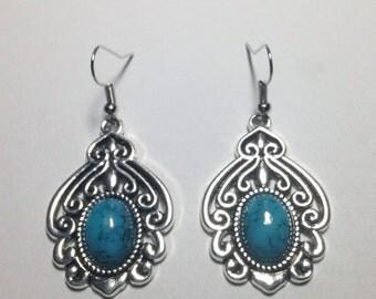 Turquoise Tibetan Silver Dangling Earrings ON SALE