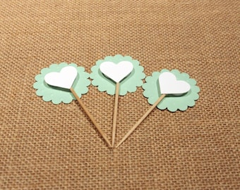 Mint Scalloped Heart Cupcake Toppers