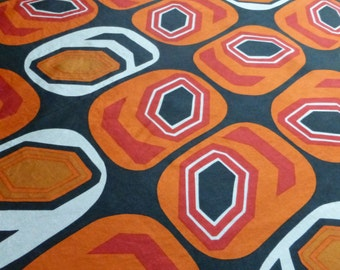 Abstract orange and black vintage scarf
