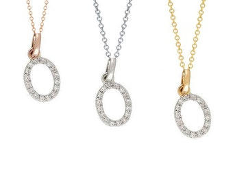 Tousi Jewelers Diamond Letter Necklace -A Alphabet Pendant -Solid 14K Gold- Gold Letter Necklace- 0.10 CT White Color Stone-Initial Jewelry