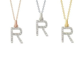 Tousi Jewelers Diamond Letter Necklace -R Alphabet Pendant -Solid 14K Gold- Gold Letter Necklace- 0.10 CT White Color Stone-Initial Jewelry