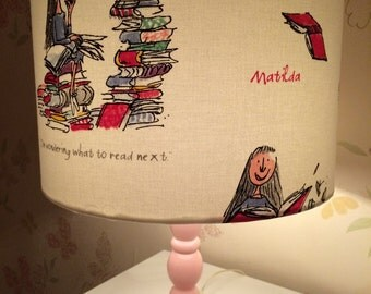 Handmade Quentin Blake illustrated Roald Dahls 'Matilda' lampshade 30cm drum shade.