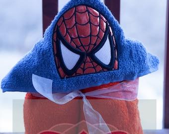 Spiderman Hooded Towel 3D eyes - Spider insignia - Boys - Avengers inspired - Superhero