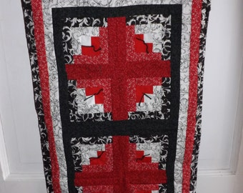 Red, White, and Black Log Cabin Wall Hanging