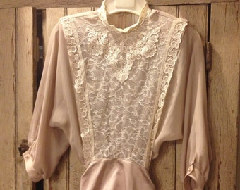 Sheer lacy Taupe/Beige DRESS, size 10P.