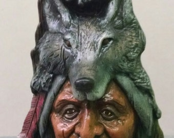 Wolf Spirit--Native American Indian Figurine--Heirloom Quality--Hand-Painted Ceramic--Home Decor--Native American Art