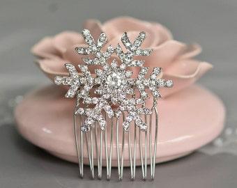 Snowflake Hair comb,Silver Tone Bridal Hair Comb,Wedding Hair Piece, Bridal Hair Comb,Charming Bride Bridesmaid Snowflake Hair Comb-10046