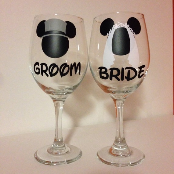 Disney wedding wine glasses personalized wedding by FromAtoZbyTami