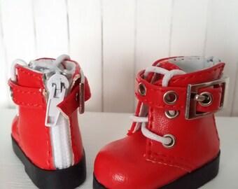 Red zapatos-BOTAS doll BJD Hujoo Freya