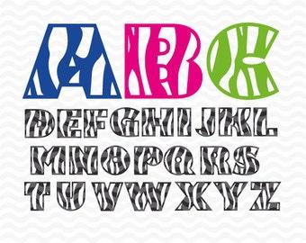 Zebra Alphabet Monogram font, SVG DXF EPS. Vinyl cutting files for use in Silhouette Studio Designer Edition and Cricut Design Space.