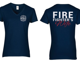 Firefighters Wife/Girlfriend/Mom V-Neck Tee - Support your Hero!