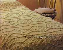 Knitted Bedspread and Cushion ... PDF Knitting Pattern ... Stunning Heirloom Bedspread ... Home decor ... Warm, Winter Keepsake