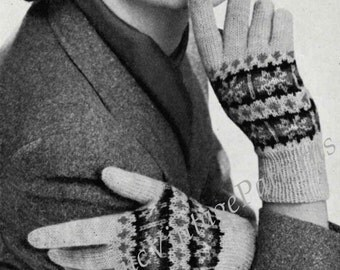 Ladies Gloves Fair Isle ... 1950's Knitted Gloves ... PDF Knitting Pattern ... Warm, Cosy, Winter Gloves ... Instant Download Pattern