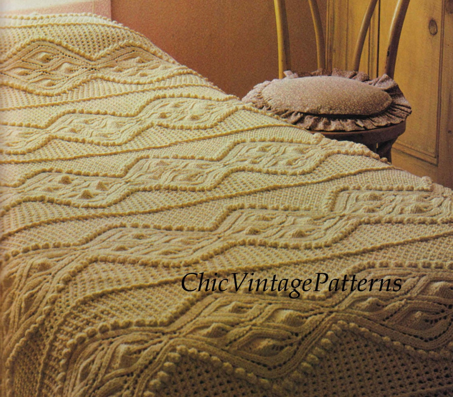 Knitted Bedspread and Cushion ... PDF Knitting Pattern ...