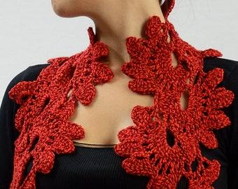Red petals crochet scarf